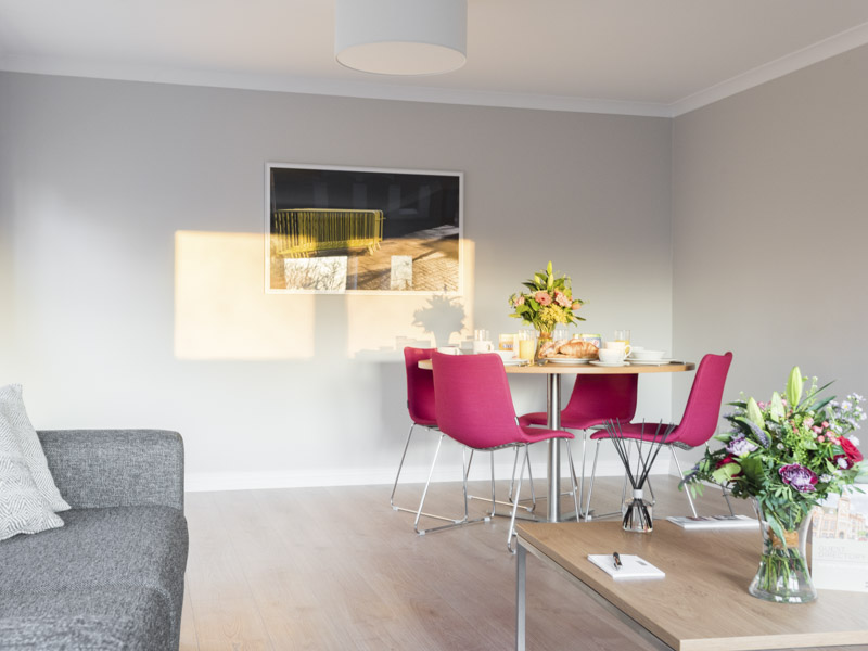 The dining area in PREMIER SUITES Reading serviced apartments